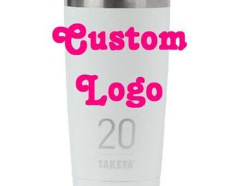 Takeya 20oz Insulated Thermo Tumbler - White with CUSTOM logo