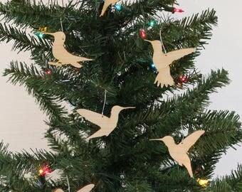 Original Design Hummingbird Ornament Set - Hummingbird Mirror Ornaments - Hummingbird Wood Ornaments