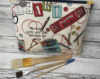 Art Supply Bag, Art Supply Pouch, Pouch, Art Pouch, Zipper Pouch, Art Bag, Cosmetic Bags, Artist Pouch, Makeup Bag, Pencil Bag, Art Supplies