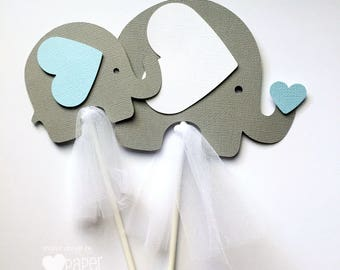 Elephant Centerpiece or Cake Smash Topper in Light Blue & Grey. Baby shower, baby sprinkle, first birthday party. Baby boy.