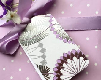 Floral gift tags. Purple and silver, flower & feather shapes. Value pack. Gift wrapping tags. Birthday, bridal, baby shower, thank you gifts