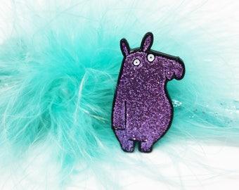 Glitterpotamus - Hippo pin -  Soft Enamel Pin - Glitter Pin - Katie Abey