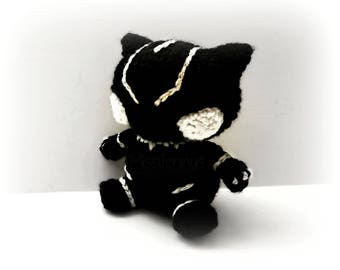 Crochet Black Panther Inspired Chibi  - Ready to Ship