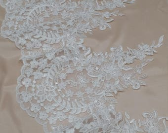 Ivory Lace Trimming, French Lace, Alencon Lace, tablecloth, Bridal Gown lace, Wedding Lace, White Lace, Veil lace, Garter lace EEV2127