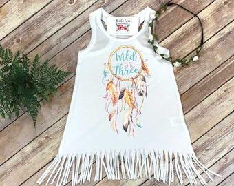 Third Birthday, Wild and Three, Girl Birthday Dress, 3rd Birthday, Fringe Birthday Dress, Boho Birthday, Girl Birthday Shirt, Wild and Free