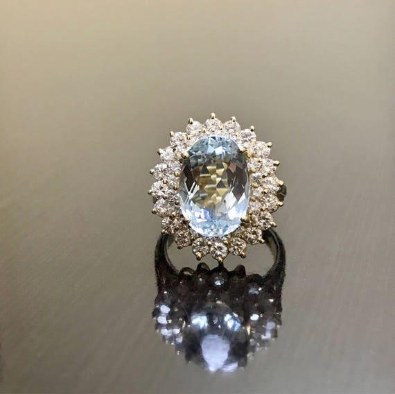 14K Yellow Gold Aquamarine Halo Diamond Engagement Ring Art