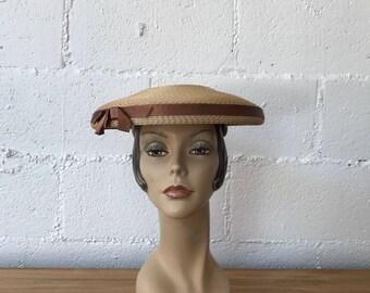 1950s Wide Brim Straw Hat Topper  // Vintage 1950s Parisienne New Look Wide Brim // 50s Beige Topper