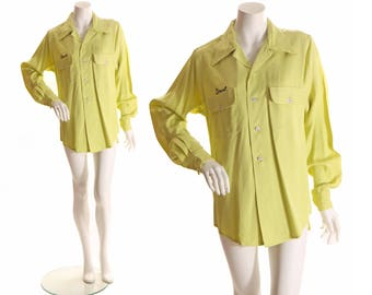 1950s Chartreuse Green Mens Long Sleeve Grant Davis Insurance Button Down Bowling Shirt by King Louie -M