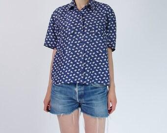 90s Elephant raw cut navy blue silk crop shirt / size M-L
