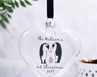 First Family Christmas Bauble - Penguin Family Bauble - New Born Christmas gift - First Christmas Gift - 1st Christmas Keepsake
