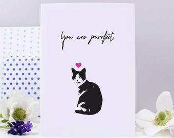 You Are Purfect Cat Valentines Day Card - Crazy Cat Card - Cat Anniversary Card - Cute Cat Card - Funny Valentines Day Card - Funny Cat Card