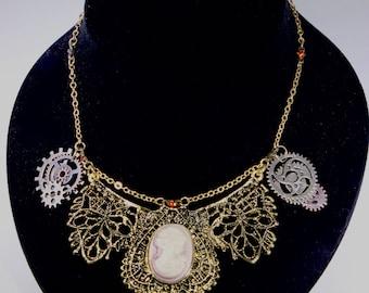 Princess Length Vintage/Steampunk Style  Cameo Necklace
