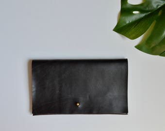 Black Leather Classic Overlap Clutch