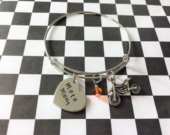 Moto Mom Bracelet - Motocross Jewelry - Racing Jewelry - Dirt Bike - Quad - Gift for Mom - Motocross - Charm Bracelet - Motocross Bangle