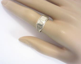 Vintage Beau Sterling Blank Band Ring Size 7.25