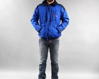 UNISEX Blue RUKKA Windbreaker 90s Blue Ski Puffer Jacket . Vintage Outdoor Warm Sports Track Jacket Shell Jacket Snowboarding Skiing Coat M