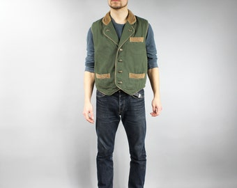 Vintage Khaki Canvas Hunting Vest . Green Men's Sleeveless Camping Jacket . Fisherman Vest . Countryside Retro Waistcoat . 80s Clothing  M L