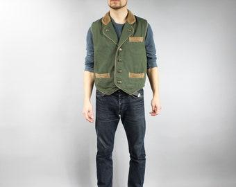 Vintage Khaki Canvas Hunting Vest . Green Men's Sleeveless Camping Jacket . Fisherman Vest . Countryside Retro Waistcoat . 80s Clothing  M L