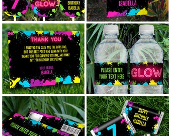Neon Glow Party Invitations & Decorations - INSTANT DOWNLOAD - Glow in the Dark Party - Edit and Print using Adobe Reader