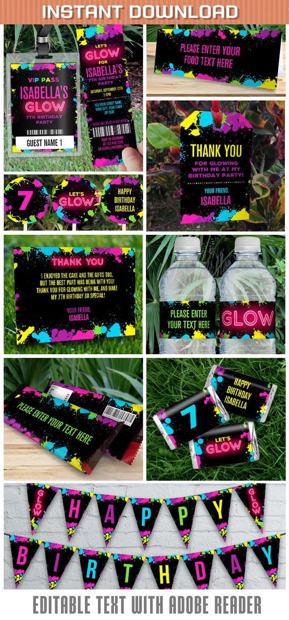 Neon Glow Party Invitations & Decorations - INSTANT DOWNLOAD - Glow ...
