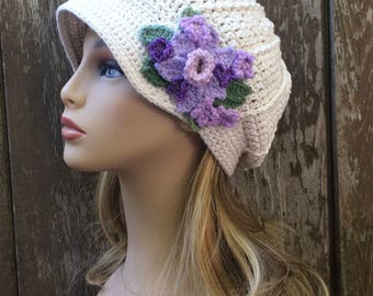 READY TO SHIP Soft Cotton Newsboy Hat, Off White, Summer Newsboy,Flower Cap,Cotton Chemo Hat, Summer Chemo Hat, Chemo Hat, Women Summer Hat
