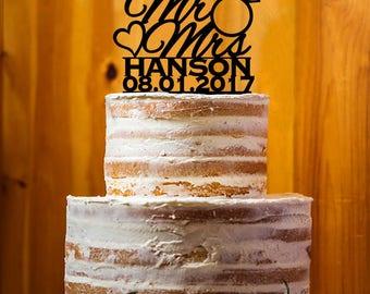 Wedding Ring Cake Topper, Mr. & Mrs. Last  Name Cake Topper, Bride and Groom Wedding Cake Topper, Personalized Cake Topper - AT277