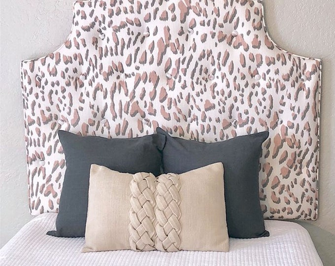 Tall Dorm Twin Headboard, Twin Headboard, Blush Pink Printed Fabric, Dorm Decor, Kids Decor