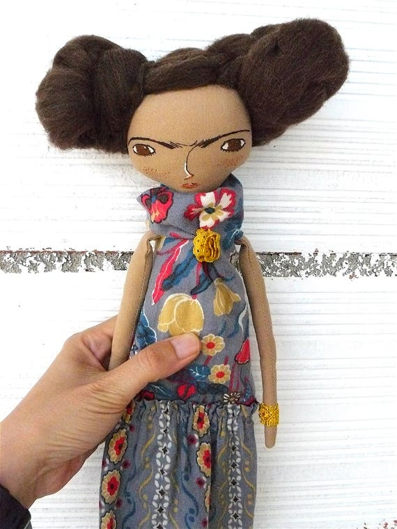 Frida Kahlo rag doll. 13 inches. Frida nº 24 2017 series.