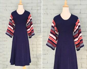 1970s navy knit dress / 70s striped batwing dress / 1970s sweater dress / 70s a-line knit dress / size small