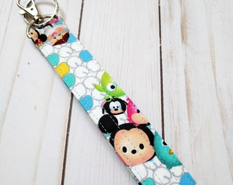 Tsum Tsum White Wristlet Key Fob / Cotton / Quilted Keychain / Handmade