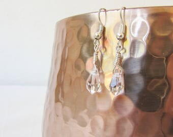 Crystal earrings, tiny lightweight drop earrings, wire wrapped clear faceted crystal beads, small dangle earrings, handmade in the UK