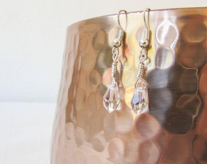 Clear crystal earrings, handmade in the UK