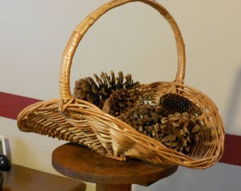 Large Woven Decorative Basket w/ Pine Cones