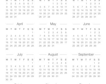 yearly calendar printable 2018