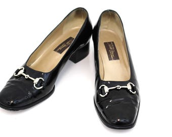 Sesto Meucci Black Shoes 9.5M Patent Leather Pumps with Horse Bit Made in Italy