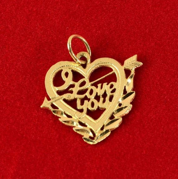 14K Gold Charm Vintage 'I Love You' Heart with Arrow Pendant Solid Yellow Gold