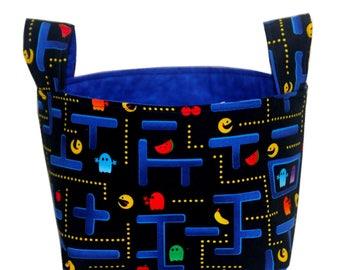 NEW! Desk Organizer-Storage Basket-Fabric Bin-Storage Bin-Video Game Bin-Pac Man Bin-Bedroom Storage