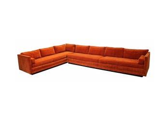 Mid Century Modern Baughman Directional 2 Pc Large Sectional Sofa Plinth Base