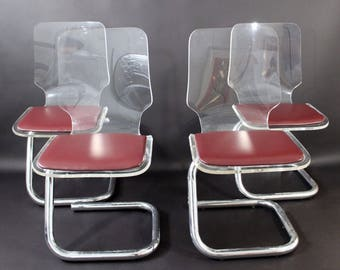 Mid Century Modern Set 4 Lucite Chrome Dining Chairs By Luigi Bardini for Hill