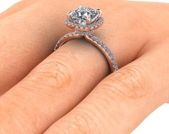 Cushion Cut Forever One| 18k Rose Gold| Halo Style Engagement Ring| Diamond Alternative| Ethical Diamond