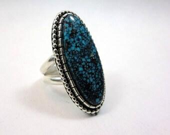 Large Turquoise Statement Ring, Size 8.75 - 9, Kingman microweb Turquoise, Sterling Silver, Rare Turquoise ring, spider web ring