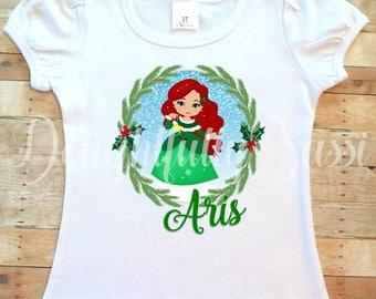 Ariel Shirt, Holiday Shirt, The Little Mermaid Shirt, The Little Mermaid, Christmas Princess, Christmas Ariel Shirt, Personalized Shirt