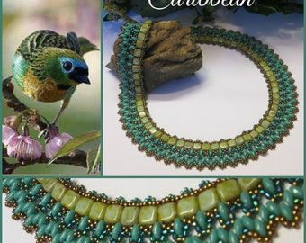 CARIBBEAN Beadwoven Superduo Necklace, Czech Glass Necklace, Turquoise Necklace, Green Necklace, Vintage Style Necklace, Handmade, Ravengirl