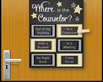 Where is the Counselor Sign, School Counselor Gift, School Counseling Office Decor, Mental Health Counselor Gift, Office Door Sign
