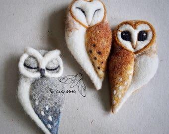 needle felted OWL BROOCH by The Lady Moth - grey  felt owl - horned owl - needle felted sleeping owl -  felted owl brooch UK