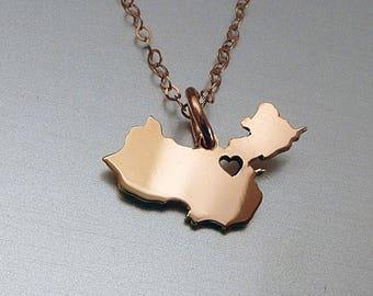 Tiny 14K Rose Gold Filled China Necklace - China Country Necklace - Custom Heart - China Map Necklace - Love China