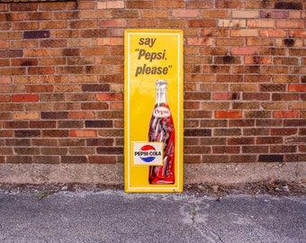 Say Pepsi Please Vintage Yellow Soda Pop Advertising Sign