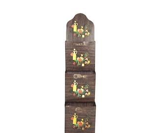 Vintage 1950s Metal Kitchen Organizer Vintage Faux Wood Metal Wall Hanger Organzier Vintage Reciper Holder Old Paper Holder