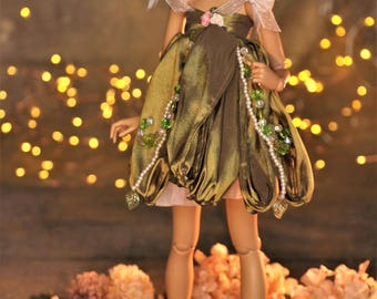 Clockwork Faery Collection dress 7 and headband Forest Green color Minifee Slim MSD Steampunk Fairy