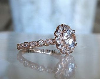 White Sapphire Engagement Ring, 2ct Sapphire Engagement Ring in 14kt Rose Gold, Size 6